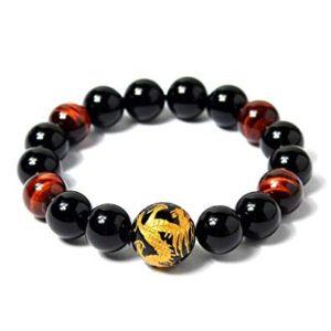Bracelet Oeil de Tigre, Dragon et Obsidienne Noire
